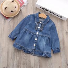 Wholesale Baby Clothes Wholesale Korea - Everweekend Girls Denim Turn-down Collar Jacket Outwear Vintage Korea Sweet Fashion Baby Clothing Cute Children Tops