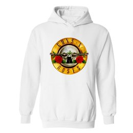 Wholesale Wholesale Slim Fit Hoodies - Wholesale-Alimoo Men Sweatshirt Rock Band Punk Guns N Roses Black Slim Fit Streetwear Winter Mens Hoodies and Sweatshirts Plus Size 4XL