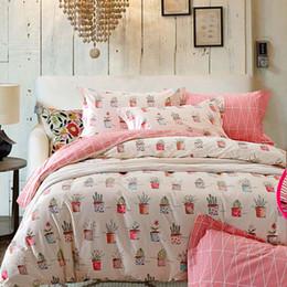Wholesale Queen Pink Floral Comforters - Riho 4-Piece 100% Cotton Bedding Rural Floral Rose Elegant Comfortable Bedding Sets Bedding Sheets Bed Comforter (Pink)