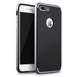 Wholesale Slim Iphone Sleeve - For iPhone 7 7Plus Phone Case Carbon Fiber Pattern TPU Shockproof Frame 2-in-1 Protective Sleeve Cover Slim 6 6S plus