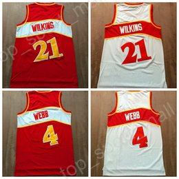 Wholesale Hot Sale Home - Throwback 21 Dominique Wilkins Jerseys Man Basketball Vintage 4 Spud Webb Jersey For Sport Fans All Stitched Home Red Color White Hot Sale