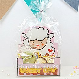 Wholesale wholesale candy paper wrappers - Wholesale- Cute small sheep translucent Flat open top bag Cake&Cookie Wrappers,candy,Package (50set lot 1set=1bag +1 paper base )