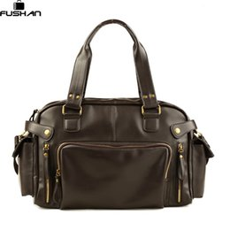 Wholesale Boys Suitcases - Wholesale- New Fashion Multifunction Mens PU leather Travel Bags Brand Waterproof Vintage men messenger bags high quality shoulder bags