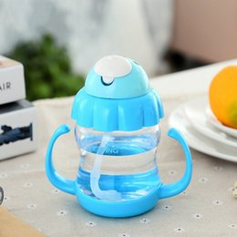 Wholesale Animal Shaped Straws - Wholesale-340ml Baby Milk Bottle with Handle Water Juice Training Bottle Drinking Straw For Kids Gift Feeding Cup 3 Color Choices
