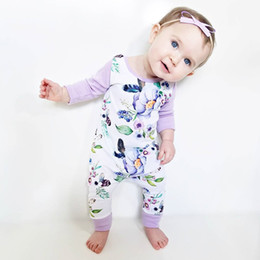 Wholesale Girls Floral Jumpsuits - Newborn Baby Girls Floral Cotton Rompers Long Sleeve Autumn Clothing Purple Flower Jumpsuit Clothes Outfit 0-24M