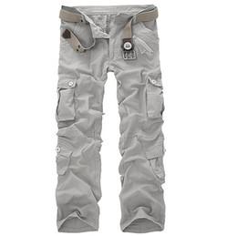 Wholesale Camo Cargo Capris - Wholesale-Men's Overalls Loose Camo Cargo Pants Baggy Outdoors Casual Cotton Men Multi Pockets Big Size Hot Summer Men's Casual Trousers