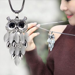 Wholesale Gold Tassel Necklace Sale - Hot Sale Owl Pendant Necklaces Women Cute Crystal Black Eyes Tassel Body Long Necklaces Gold Hematite Necklaces Free Shipping