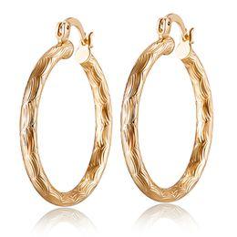 Wholesale hoops for girls - Hotsale Fashion Women Earrings Jewelry High Polished 18K Yellow Gold Plated Earrings Hoops for Girls Women for Wedding Party ER-962