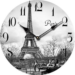 Wholesale Cheap Antique Clocks - Wholesale-Europe Paris Eiffel Tower Cheap Wall Clock Decor Retro Large Decorative Modern Wall Clock Vintage French Antique Wood Clock