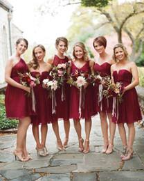 Wholesale Ruby Brown - Ruby Short Country Bridesmaid Dresses A-Line Chiffon Mini Sweetheart 2017 Mixmatched Cheap Beach Wedding Party Maid of Honor Gowns