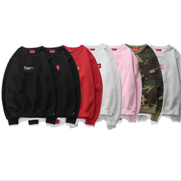 Wholesale Long Neck Fashion For Men - Autumn letter print hoodies men new tide fashion long sleeve o neck hoodies for men sup luxury brand embroidery men hoodies free shipping