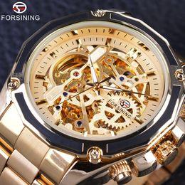 Wholesale Mechanical Skeleton Watch Movement - Forsining Golden Steampunk Fashion Luxury Design Open Work Skeleton Mechanical Movement Men Automatic Watch Top Brand Luxurry