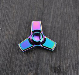 Wholesale Kids Wholesale Dhgate - Colorful Fidget Spinner Metal EDC Tri-Bar Hand Spinner Finger Spin Made Focus Toy Rotate Spinning Stress Toy DHgate Cheapest
