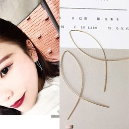 Wholesale Cross Design Gold - Fishing line cross earring simple fashion metal water design sense ear line gold&silver color wholesale free shipping