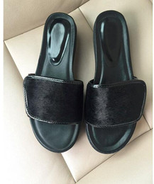 Wholesale Thick Black Hair Bands - 2017 summer new arrival noble top quality luxury brand sexy walks Light soft horse hair Genuine Leather flats Thick bottom women sandals