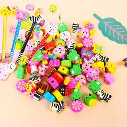 Wholesale Cute Design Pencils - 50Pcs Lot Cute cartoon various of animals eraser with a hole colorful eraser gifts for kids students school supplies promotion gifts