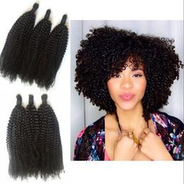 Tramas de pelo trenzado online-Rizado rizado a granel de cabello humano para trenzar grado superior 4b, rizo afro 4c a granel indio a granel 3pcs / lot no tramas G-EASY