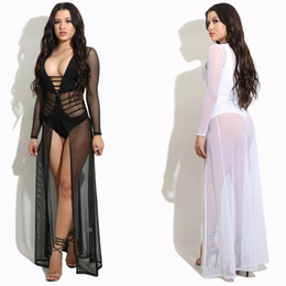 Wholesale Greek Sleeves - Women MESH COVER UPS Sexy Sheer Mesh Maxi Dress Skirt Black And White GREEK GODDESS COVER UP Beach dresses 3XL