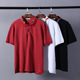 Wholesale Lapel Plaid Shirt - Summer new European and American fashion trend of high - end casual lapel collar collar collar embroidered snake short - sleeved POLO shirt