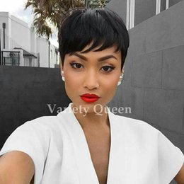 real top quality human hair Coupons - 100% human real hair wig Top Quality Natural Soft Cheap Short Pixie Cut real hair lace Wig no synthetic hair free shipping