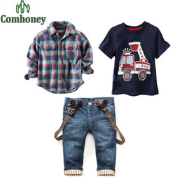 Wholesale Toddler Boy Denim Overalls - Toddler Boys Clothing Set Spring Long Sleeve Cartoon Car Plaid Shirt+T-shirt+Jeans 3 pcs Baby Boy Casual Denim Overall Pant Suit