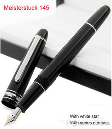 Wholesale Gold Silver Fountain Pen - Classique silver gold cilp metal and resin fountain pen 145, luxury MB stationary supplies pen white star inlay serial number