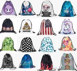 Wholesale Women Adult Backpack - more 200 styles new fashion kids adult Emoji Backpack 3D printing travel softback women mochila drawstring bag mens backpacks