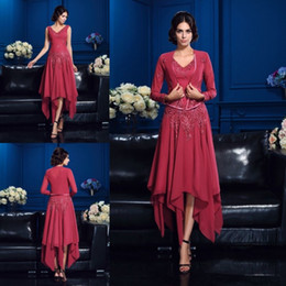 Wholesale Unique Long Party Dress - Unique Design Irregular Chiffon Dress Party Evening Gowns With Jacket V Neck Custom Made Applique Tea Length Mother of the Bride Dresses