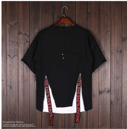 Wholesale Men Strip Clothes - The 2017 men's five quarter BianFuShan hip-hop hip-hop clothing decorative strip loose personality seven sleeve T-shirt