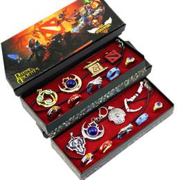 Wholesale Ring Set Costume - Hot Game Dota 2 Aghanim's Scepter God Rod Pendant Necklace Dota2 Lover Pendant Costume Necklace Ring Keychain Fashion Jewelry