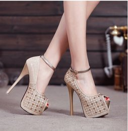 Wholesale Super High Heels 16 Cm - New 16 cm sexy club super high heels waterproof computer costly diamond thin and shallow mouth fish mouth women's shoes