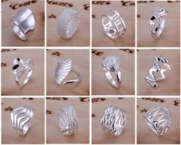 commander des bijoux Promotion New Arrive 925 bijoux en argent 50 style 50 pcs / lot Charme Femmes filles bagues Finge Multi Styles Bagues Mix taille mix ordre vente chaude