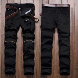Al por mayor-Hombres con estilo Ripped Jeans Zipper Ahueca hacia fuera Biker Classic Skinny Slim Straight Denim Trousers desde fabricantes