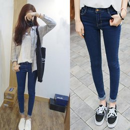 Wholesale Deep Pocket Jeans - The spring elastic thin high waist jeans female student pencil pants feet deep blue Korean female slim trousers