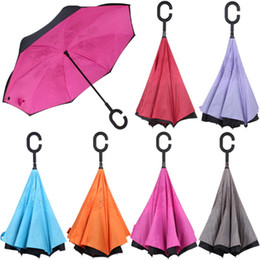 Wholesale Hold Out - Inverted Umbrellas Sunny Shade Reverse Windproof Double Layer with C Handle Inside Out Free Holding Beach Umbrella Rainproof Rain Sun