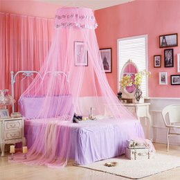 Wholesale Door Canopies - Hot Selling Summer Good Sleeping Graceful Elegant Lace Bed Curtain Netting Canopy Mosquito Net Princess Round Dome Bedding Net Bed