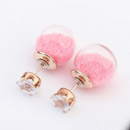 Wholesale earing beads - Candy Color Temperament Stud Earrings Ear Ring Statement transparent bead Earrings Women Fashion gifts Bulb Ear Sud Earing Jewelry Free DHL