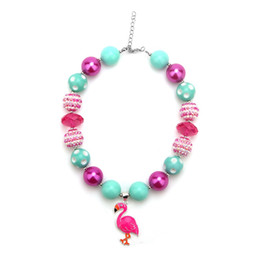 Wholesale Bubble Bead Necklaces - Zoo Animal DYI Pink Flamingo Chunky Bubble Gum Bead Necklace,Necklace Kit