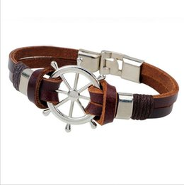Wholesale Titanium Bracelets For Mens - Fashion Style Leatherette Alloy Rudder Bracelet Hand-woven Leisure Gift for Women Wristband Charm Mens Accessories Bracelets