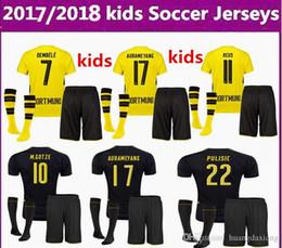 Wholesale Borussia Dortmund Shirt - 2017 2018 children + socks Borussia Dortmund REUS kids jerseys 17 18 AUBAMEYANG GOTZE PULISIC home children football shirt soccer jersey