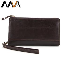 Wholesale Wholesale Male Wallets - Wholesale- MVA Genuine Leather Wallet Men Clutch Solid Bag Male Wallets Clutch Purse Double Zipper Men Wallets Long Card Holder Purse