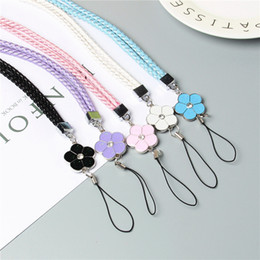 Wholesale Cheap Phone Cords - Free shipping 200pcs Best Cheap Price Bling Crystal Five - petal cord Hand Strap Lanyard for Mobile cell phone, factory wholesale
