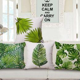 2019 federe di crochet verde decorazione del paese cuscino copertina natura fogliame decorativo cuscini caso primavera estate foglia sedia lettino almofada 45cm cojin