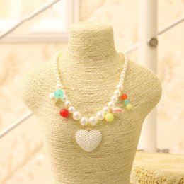 Wholesale Big Pendent - Fashion Cute Kawaii Kids Imitation Pearl Big Love Heart Pendent Necklace for Girl Kids Gift Choker Jewelry Accessory Wholesale