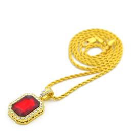 Wholesale Wholesale Men Cz Necklaces - Vintage Golden Bling Iced Out Mini Stone CZ Pendants Necklaces Men Women Charm Crystal Hip Hop Jewelry Gifts Chain