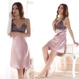 Toptan-Bayanlar Taklit İpek Braces Elbise Dantel Pijama Gecelik Gecelikler nereden
