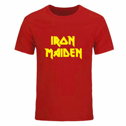 Wholesale iron man clothes - Summer Clothing Casual Mens Printed Iron Maiden Punk Rock Band Tees Hip Hop Skateboard Short Sleeve Round Neck T Shirts DIY-0147D