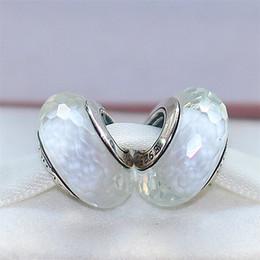 Canada 2pcs 925 fil d'argent blanc au chalumeau blanc fascinant perles de verre de Murano Fit européen Pandora bricolage Bracelet collier-m14 Offre