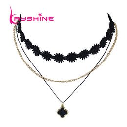 Wholesale Gothic Style Choker - Multi Layer Chain Necklace Black Lace Choker Gothic Style Choker Necklace with Flower Pendant Schmuck