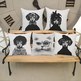 Wholesale Dachshund Pillow - Cushion Cover White and Black Dog Dachshund Cotton Linen Cushion Euro Pillow Covers Home Decorative Pillows 18x18 inches